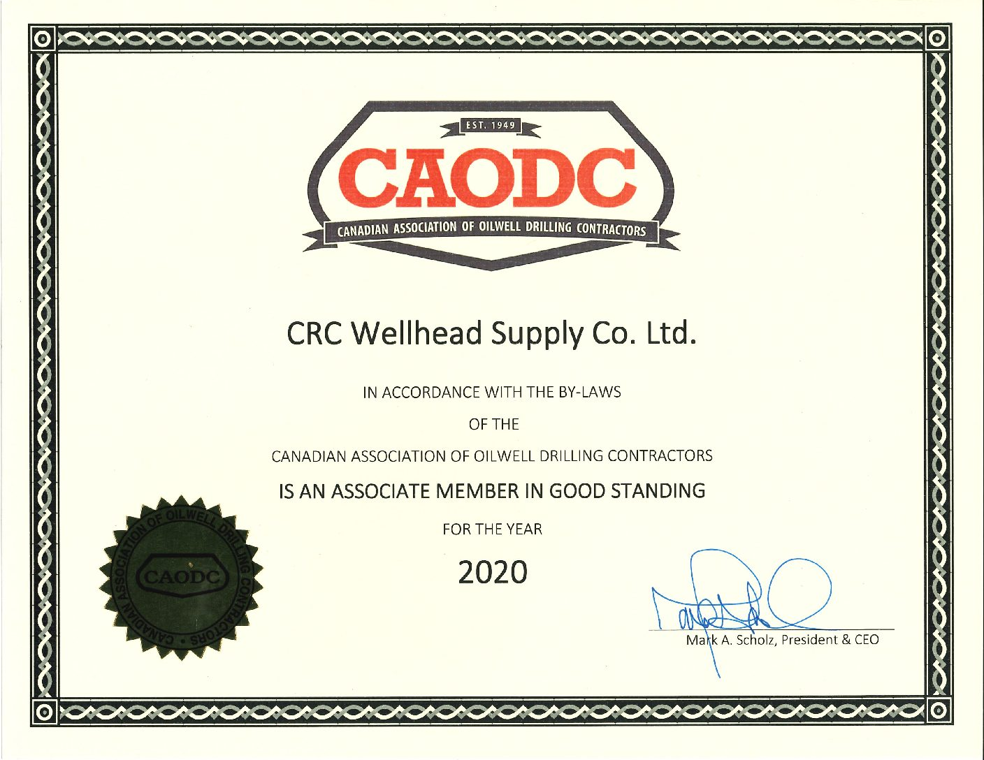 Canadian Association of Oilwell Drilling Contractors certificate crc wellhead